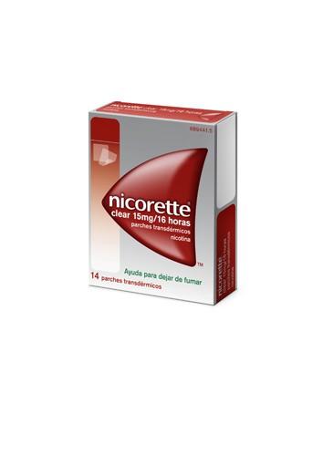 NICORETTE CLEAR 15 mg/16 HORAS PARCHES TRANSDERMICOS, 14 parches
