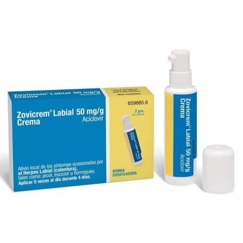 ZOVICREM LABIAL 50 mg/g CREMA, 1 frasco de 2 g