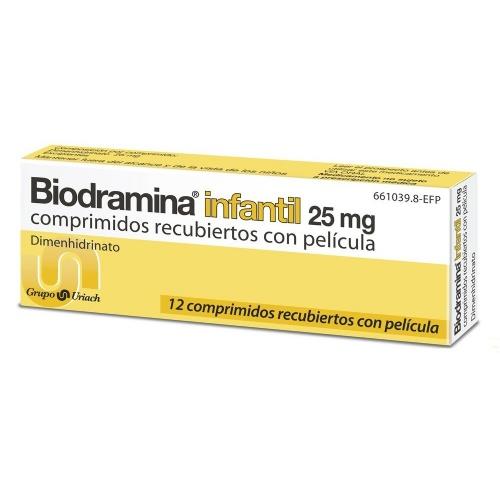 BIODRAMINA INFANTIL 25 mg COMPRIMIDOS RECUBIERTOS CON PELICULA , 12 comprimidos