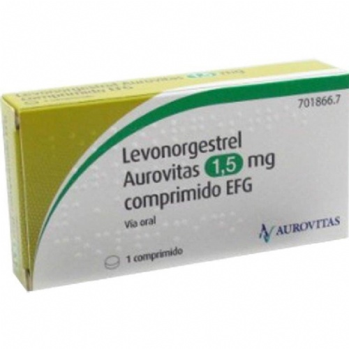 LEVONORGESTREL AUROVITAS 1,5 MG COMPRIMIDO EFG , 1 comprimido