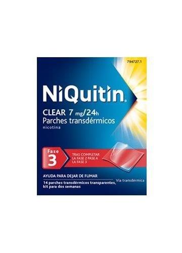 NIQUITIN CLEAR 7 MG/24 H PARCHES TRANSDERMICOS , 14 parches
