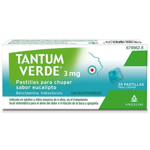 TANTUM VERDE 3 mg PASTILLAS PARA CHUPAR SABOR EUCALIPTO , 20 pastillas