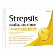 STREPSILS PASTILLAS PARA CHUPAR SABOR MIEL Y LIMON , 24 pastillas